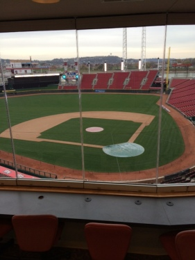 Inside the press box at Great American Ballpark