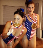 Alex Morgan & Sydney Leroux as US Gymnasts